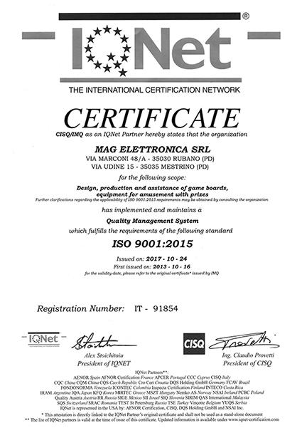 Certificazione ISO Fronte